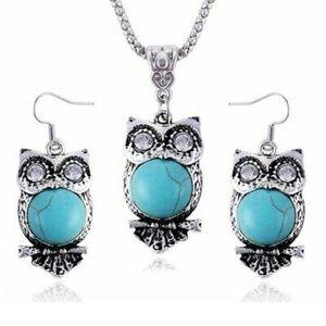 🦋gorgeous vintage turquoise silver owl set